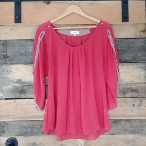 Umgee Button Sleeve Loose Blouse